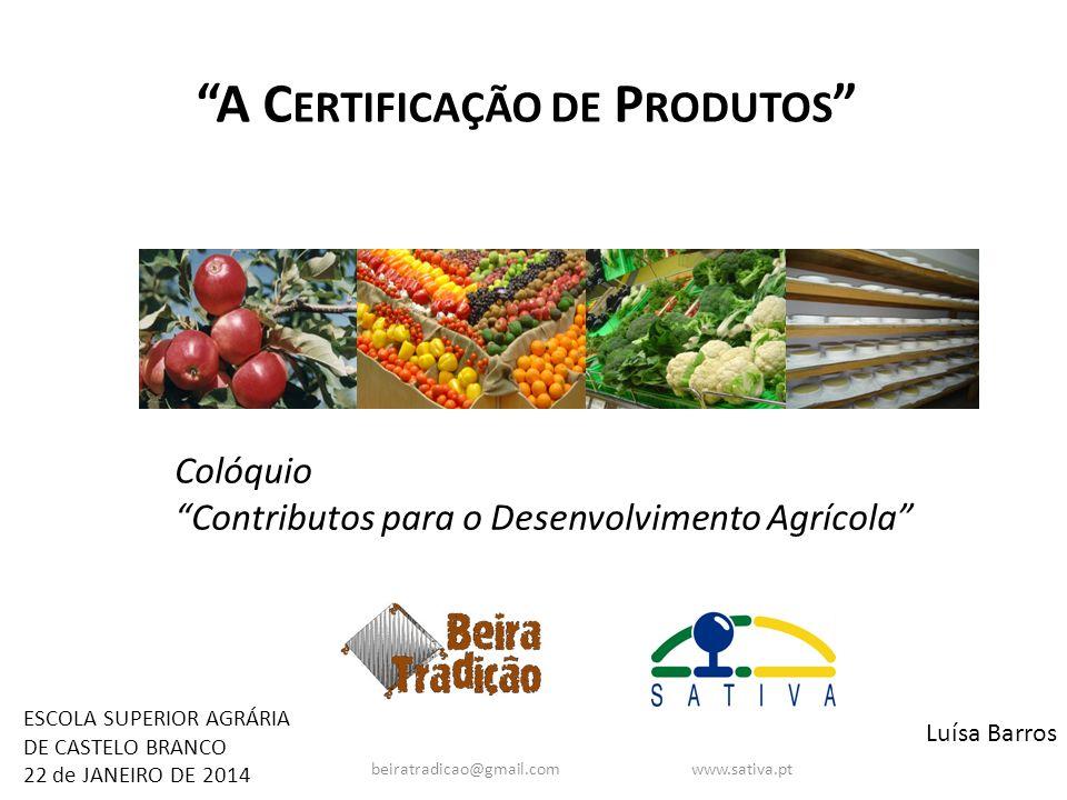 A Certificação de Produtos