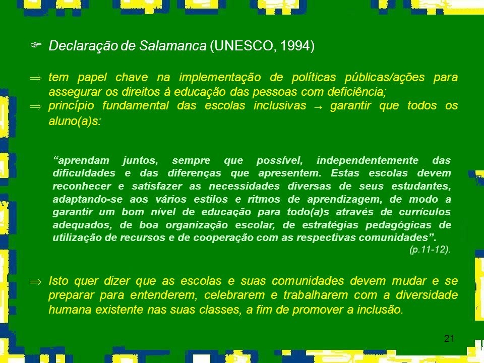 Declaração de Salamanca (UNESCO, 1994)