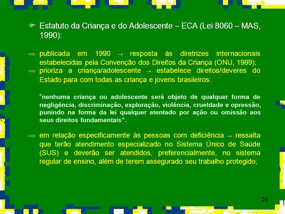 Estatuto da Criança e do Adolescente – ECA (Lei 8060 – MAS, 1990):