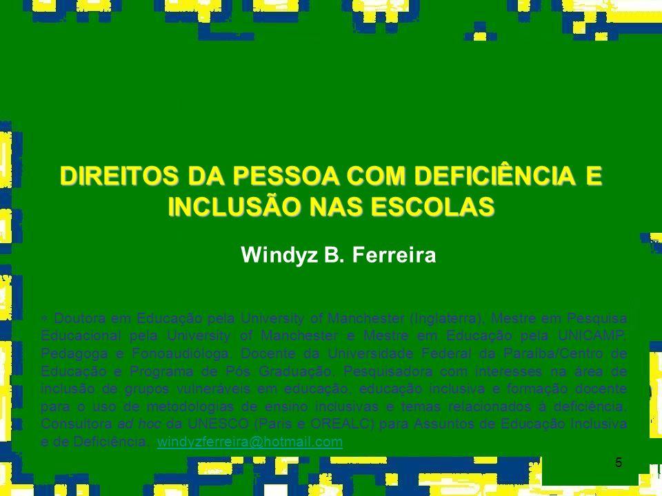 DIREITOS DA PESSOA COM DEFICIÊNCIA E INCLUSÃO NAS ESCOLAS