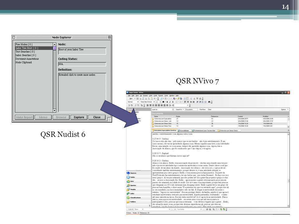 QSR NVivo 7 QSR Nudist 6. Mostrar que o Nvivo é uma evolução do Nudist, que foi usado em alguns trabalhos do CCTE (de Alex)