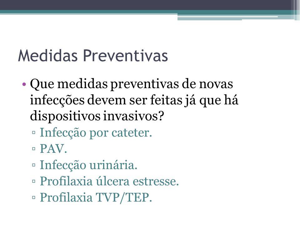 Medidas Preventivas Que medidas preventivas de novas infecções devem ser feitas já que há dispositivos invasivos