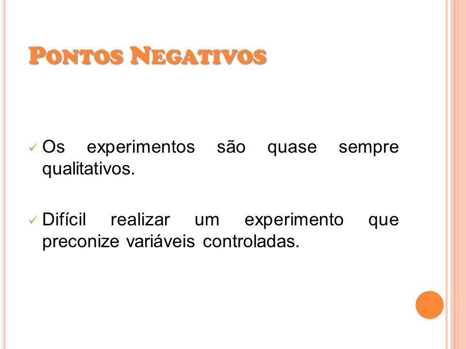Pontos Negativos Os experimentos são quase sempre qualitativos.
