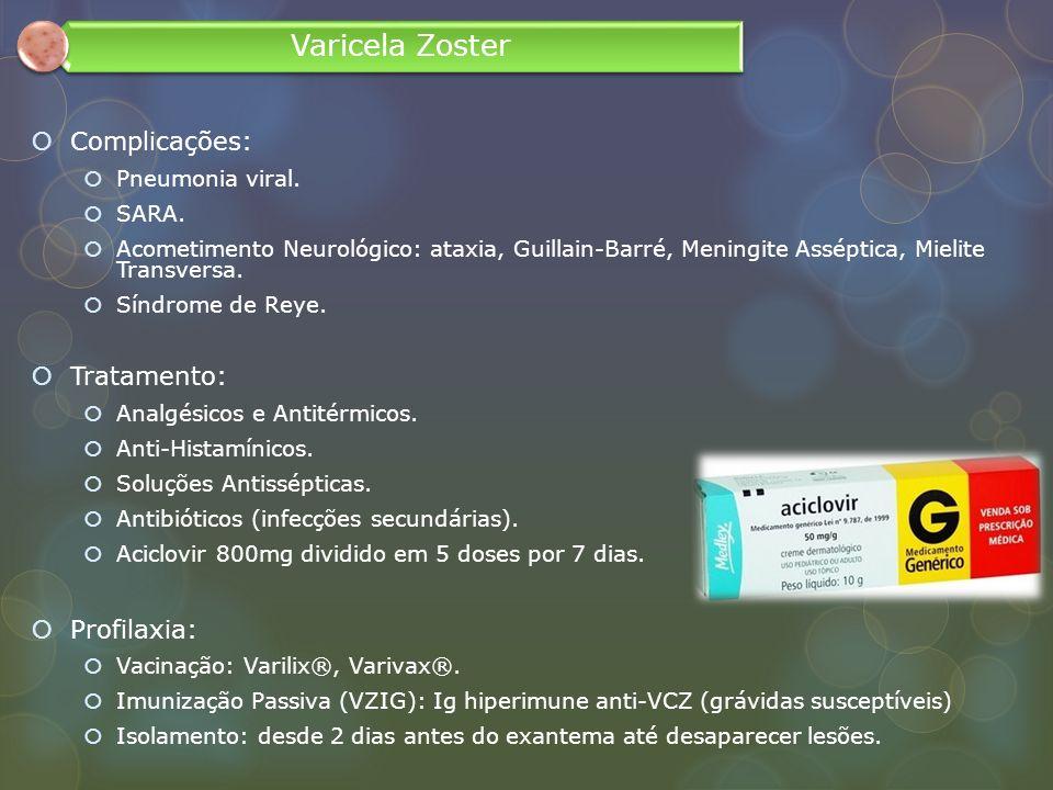 Varicela Zoster Complicações: Tratamento: Profilaxia: Pneumonia viral.