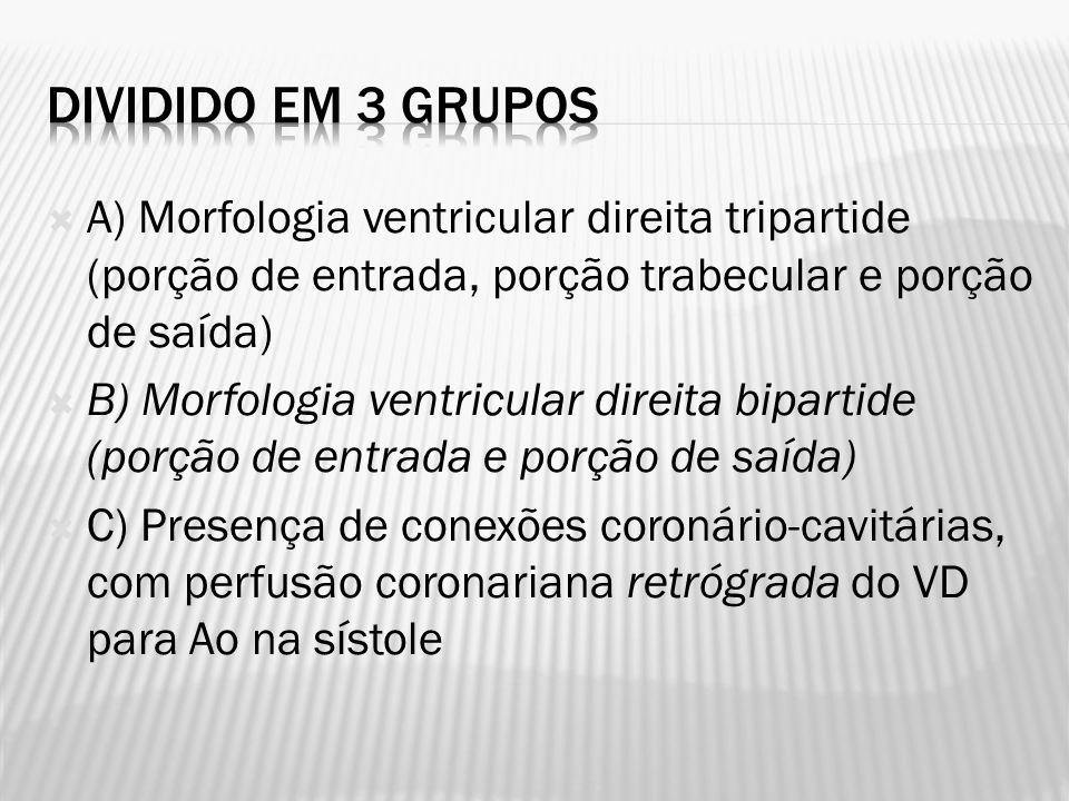 Dividido em 3 grupos A) Morfologia ventricular direita tripartide (porção de entrada, porção trabecular e porção de saída)