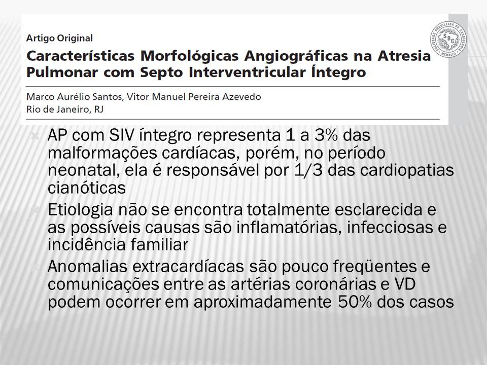 AP com SIV íntegro representa 1 a 3% das malformações cardíacas, porém, no período neonatal, ela é responsável por 1/3 das cardiopatias cianóticas
