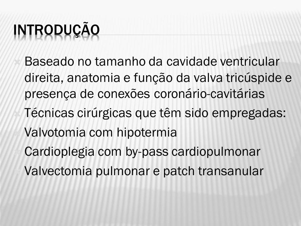 Introdução Baseado no tamanho da cavidade ventricular direita, anatomia e função da valva tricúspide e presença de conexões coronário-cavitárias.