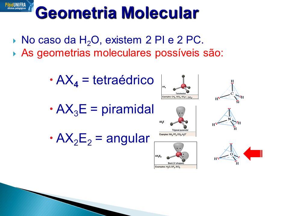 Geometria Molecular AX4 = tetraédrico AX3E = piramidal AX2E2 = angular