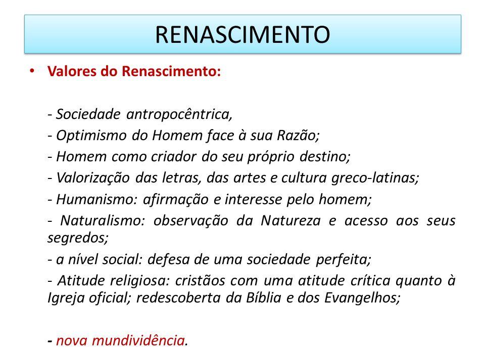 RENASCIMENTO Valores do Renascimento: - Sociedade antropocêntrica,