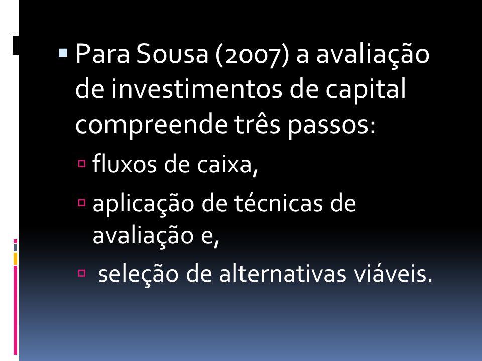 Para Sousa (2007) a avaliação de investimentos de capital compreende três passos: