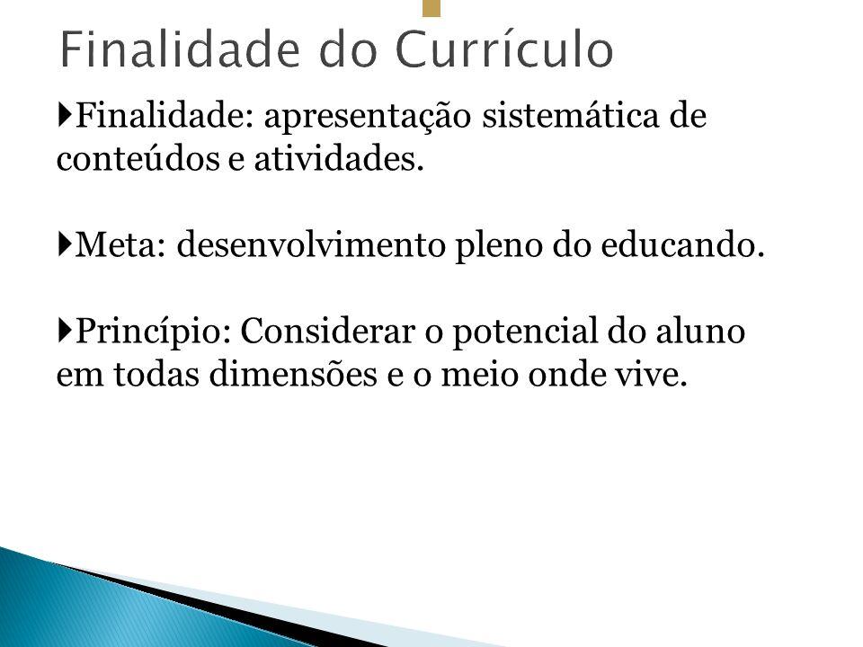 Finalidade do Currículo