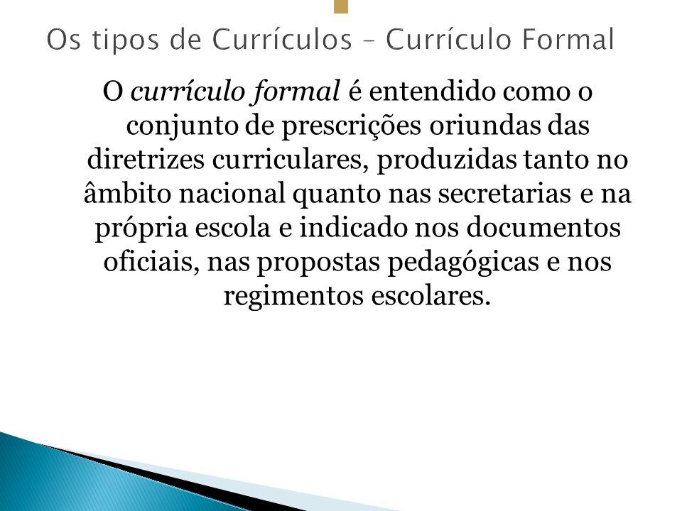 Os tipos de Currículos – Currículo Formal