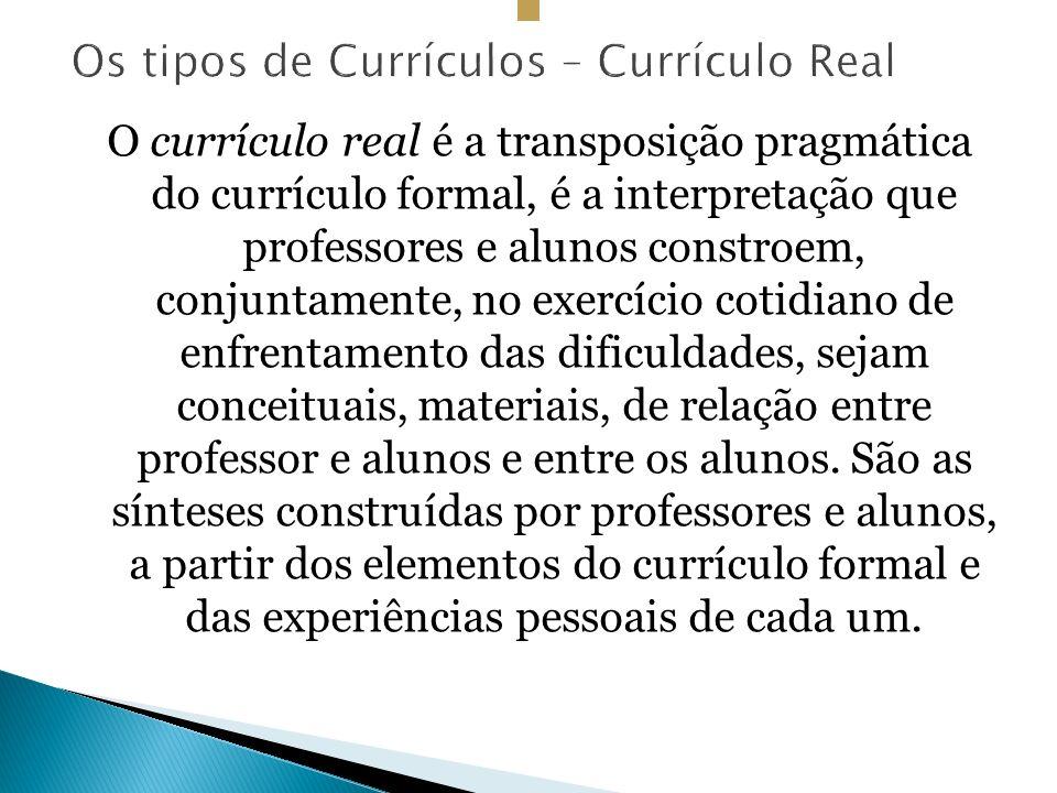Os tipos de Currículos – Currículo Real