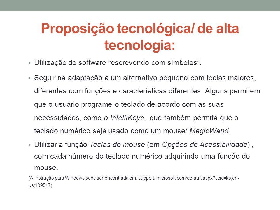 Proposição tecnológica/ de alta tecnologia: