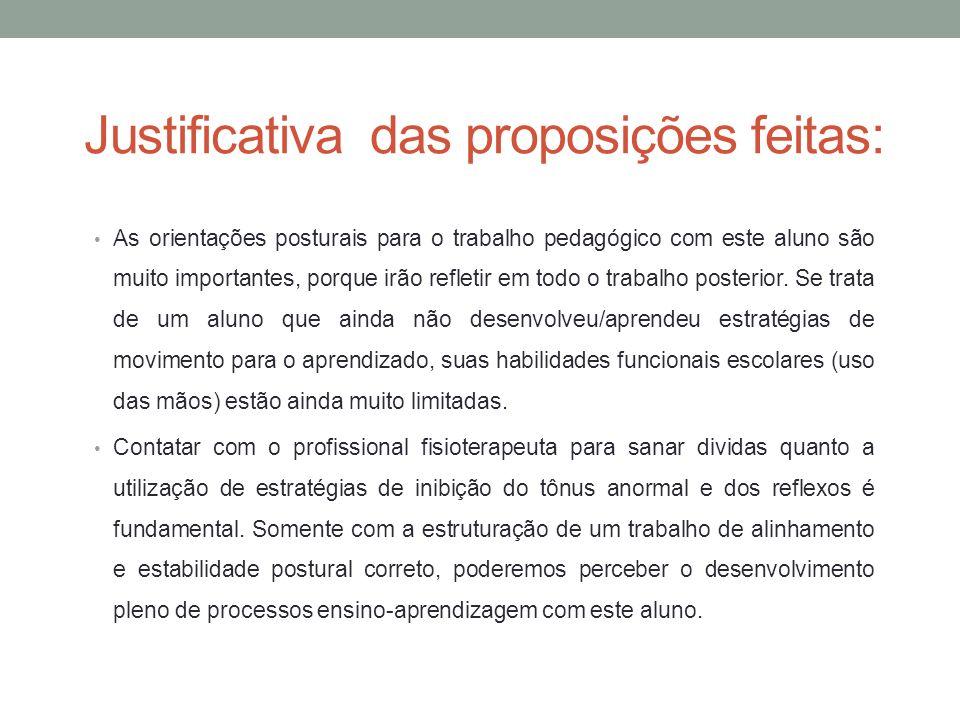 Justificativa das proposições feitas: