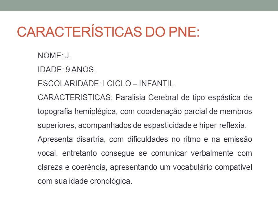 CARACTERÍSTICAS DO PNE: