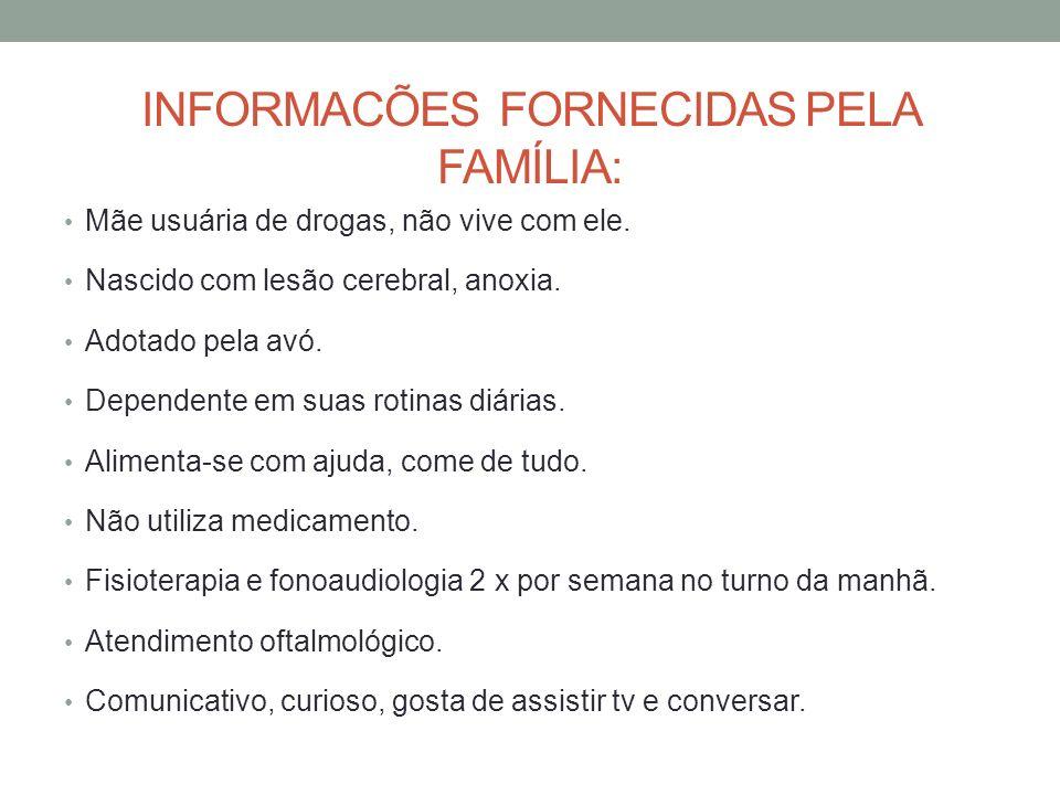 INFORMACÕES FORNECIDAS PELA FAMÍLIA: