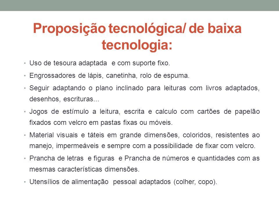 Proposição tecnológica/ de baixa tecnologia: