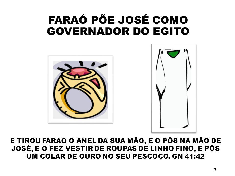 FARAÓ PÕE JOSÉ COMO GOVERNADOR DO EGITO