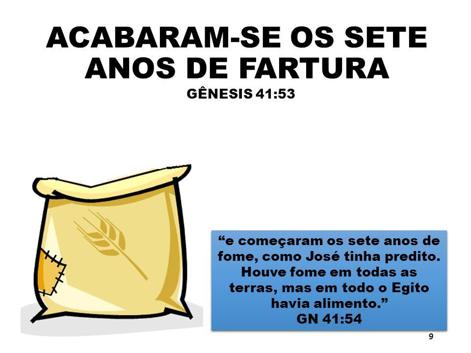 ACABARAM-SE OS SETE ANOS DE FARTURA