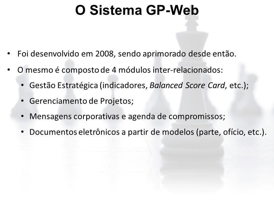 O Sistema GP-Web Foi desenvolvido em 2008, sendo aprimorado desde então. O mesmo é composto de 4 módulos inter-relacionados: