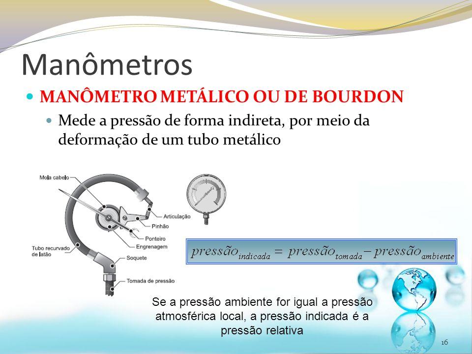 Manômetros MANÔMETRO METÁLICO OU DE BOURDON