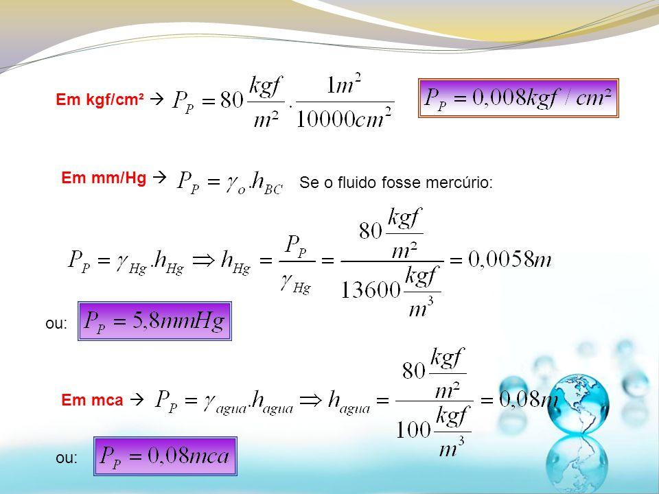 Em kgf/cm²  Em mm/Hg  Se o fluido fosse mercúrio: ou: Em mca  ou: