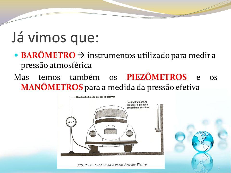 Já vimos que: BARÔMETRO  instrumentos utilizado para medir a pressão atmosférica.
