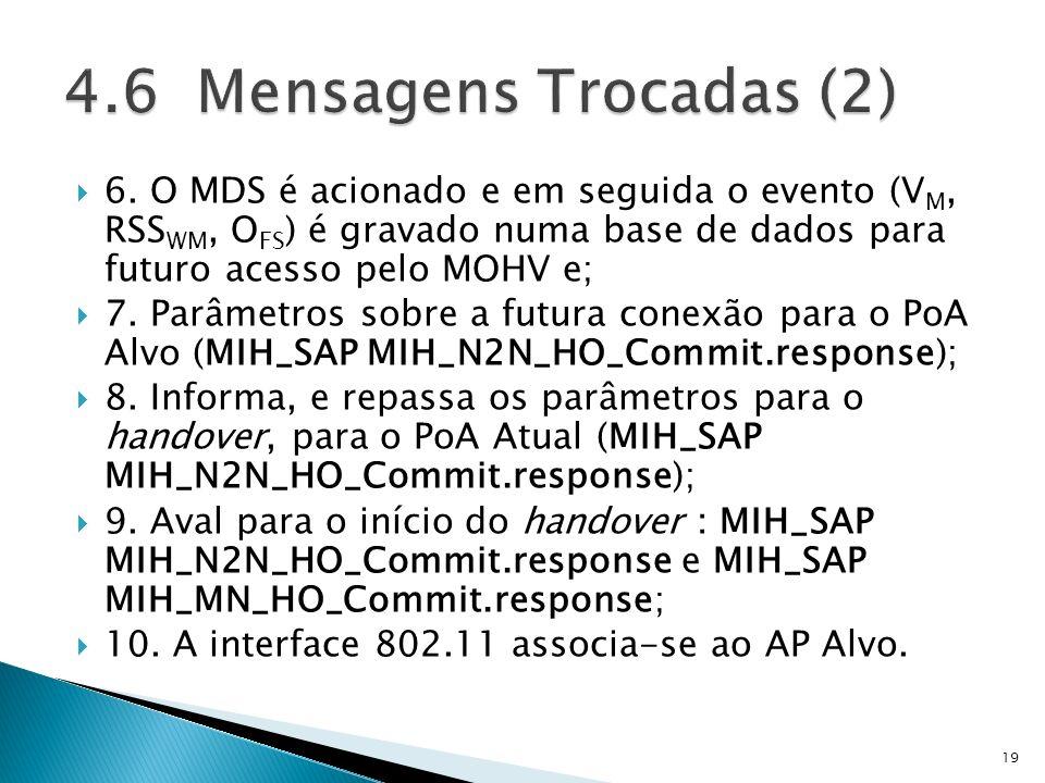 4.6 Mensagens Trocadas (2) 6. O MDS é acionado e em seguida o evento (VM, RSSWM, OFS) é gravado numa base de dados para futuro acesso pelo MOHV e;