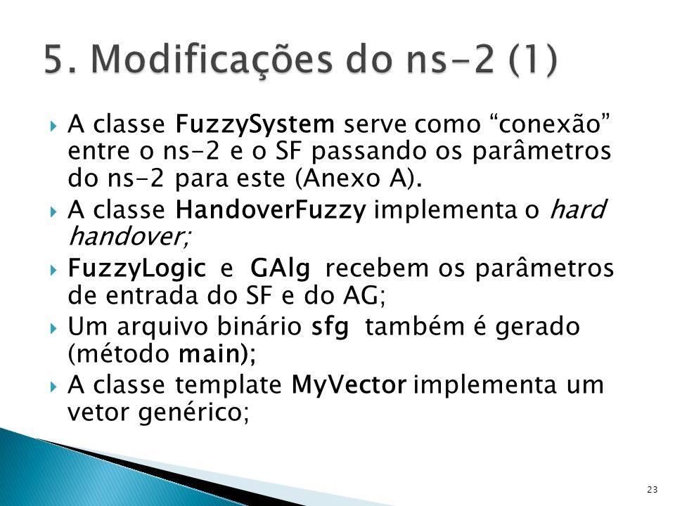 5. Modificações do ns-2 (1) A classe FuzzySystem serve como conexão entre o ns-2 e o SF passando os parâmetros do ns-2 para este (Anexo A).