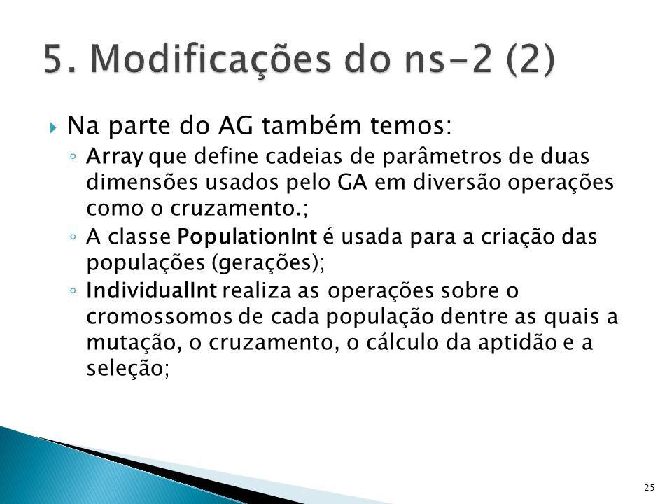 5. Modificações do ns-2 (2) Na parte do AG também temos: