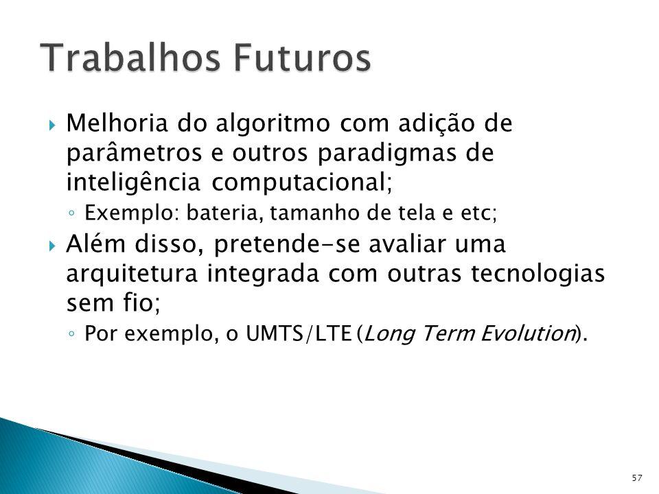 Trabalhos Futuros Melhoria do algoritmo com adição de parâmetros e outros paradigmas de inteligência computacional;