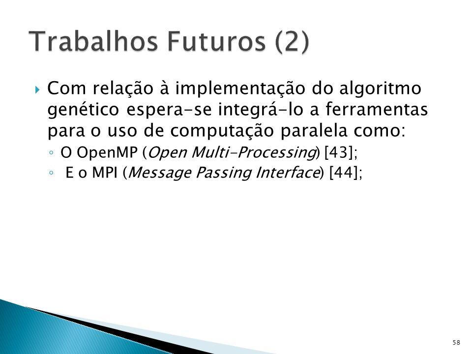 Trabalhos Futuros (2) Com relação à implementação do algoritmo genético espera-se integrá-lo a ferramentas para o uso de computação paralela como: