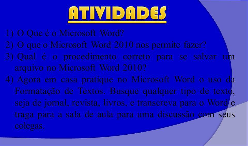 ATIVIDADES O Que é o Microsoft Word
