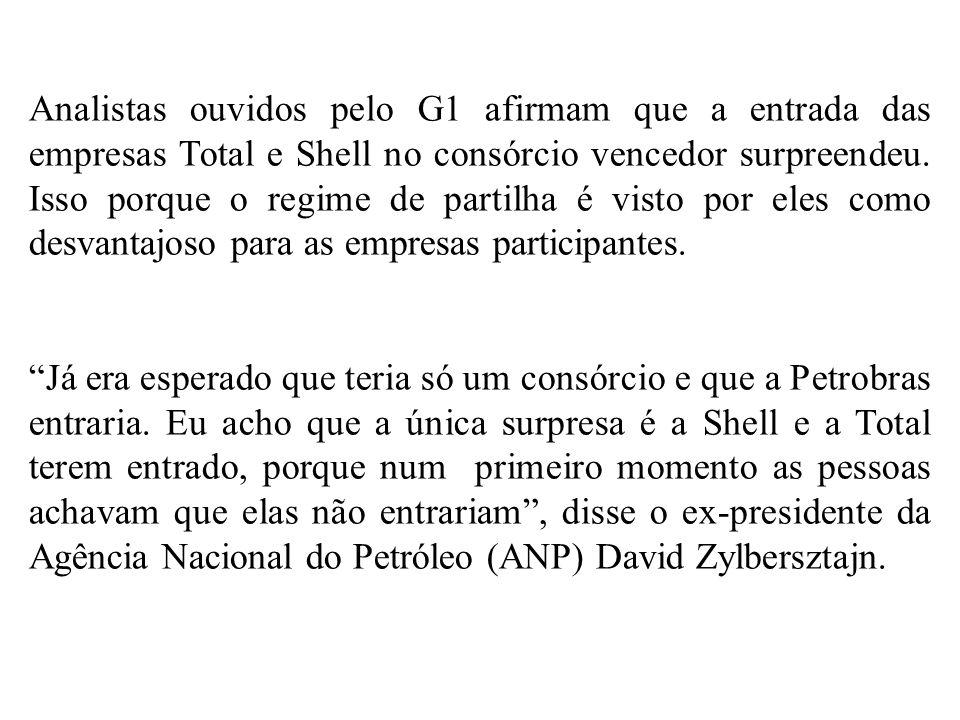 Analistas ouvidos pelo G1 afirmam que a entrada das empresas Total e Shell no consórcio vencedor surpreendeu. Isso porque o regime de partilha é visto por eles como desvantajoso para as empresas participantes.