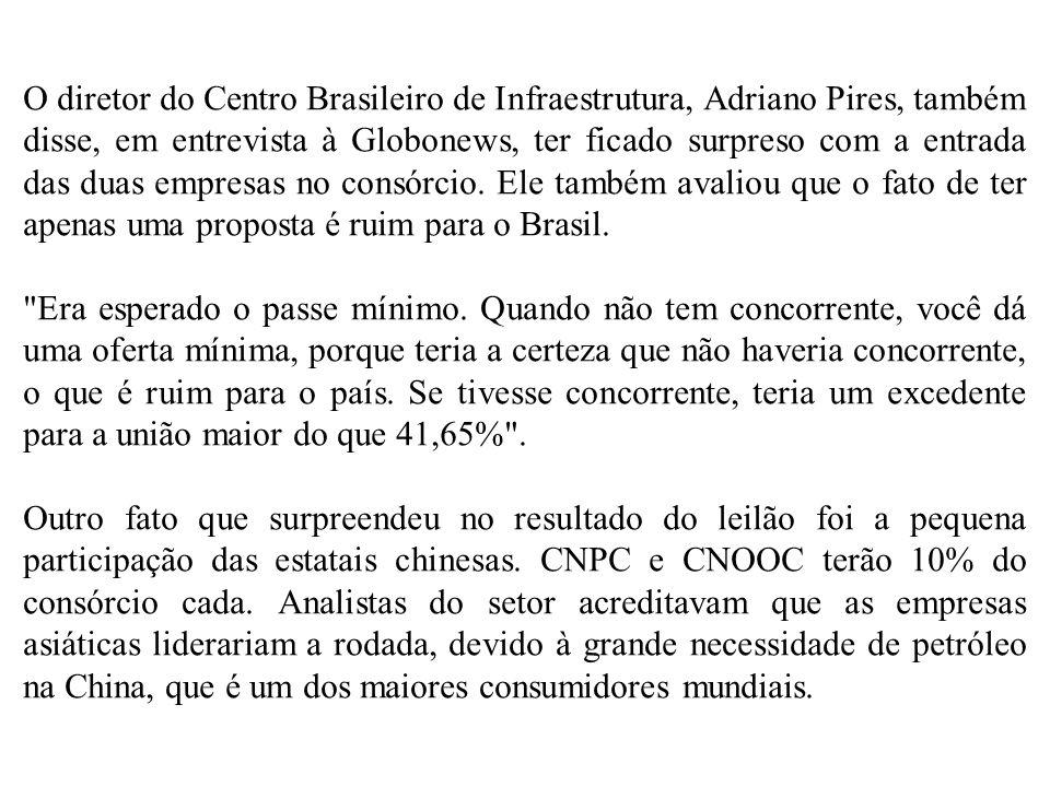 O diretor do Centro Brasileiro de Infraestrutura, Adriano Pires, também disse, em entrevista à Globonews, ter ficado surpreso com a entrada das duas empresas no consórcio. Ele também avaliou que o fato de ter apenas uma proposta é ruim para o Brasil.