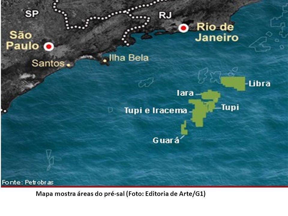 Mapa mostra áreas do pré-sal (Foto: Editoria de Arte/G1)