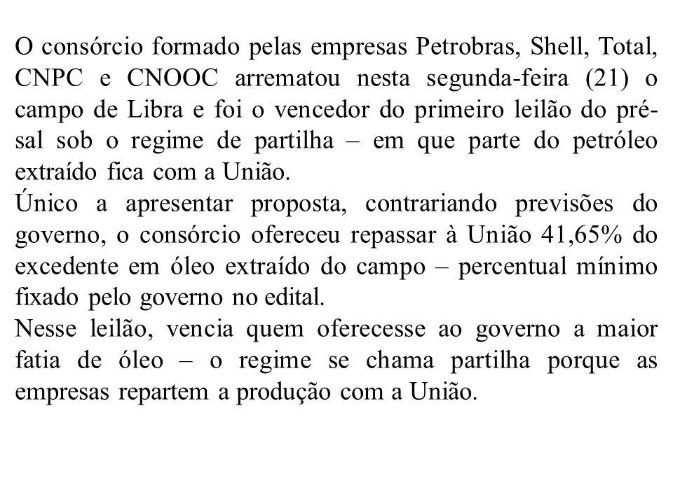 O consórcio formado pelas empresas Petrobras, Shell, Total, CNPC e CNOOC arrematou nesta segunda-feira (21) o campo de Libra e foi o vencedor do primeiro leilão do pré-sal sob o regime de partilha – em que parte do petróleo extraído fica com a União.