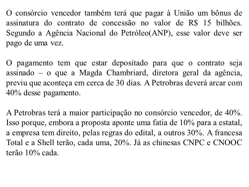 O consórcio vencedor também terá que pagar à União um bônus de assinatura do contrato de concessão no valor de R$ 15 bilhões. Segundo a Agência Nacional do Petróleo(ANP), esse valor deve ser pago de uma vez.