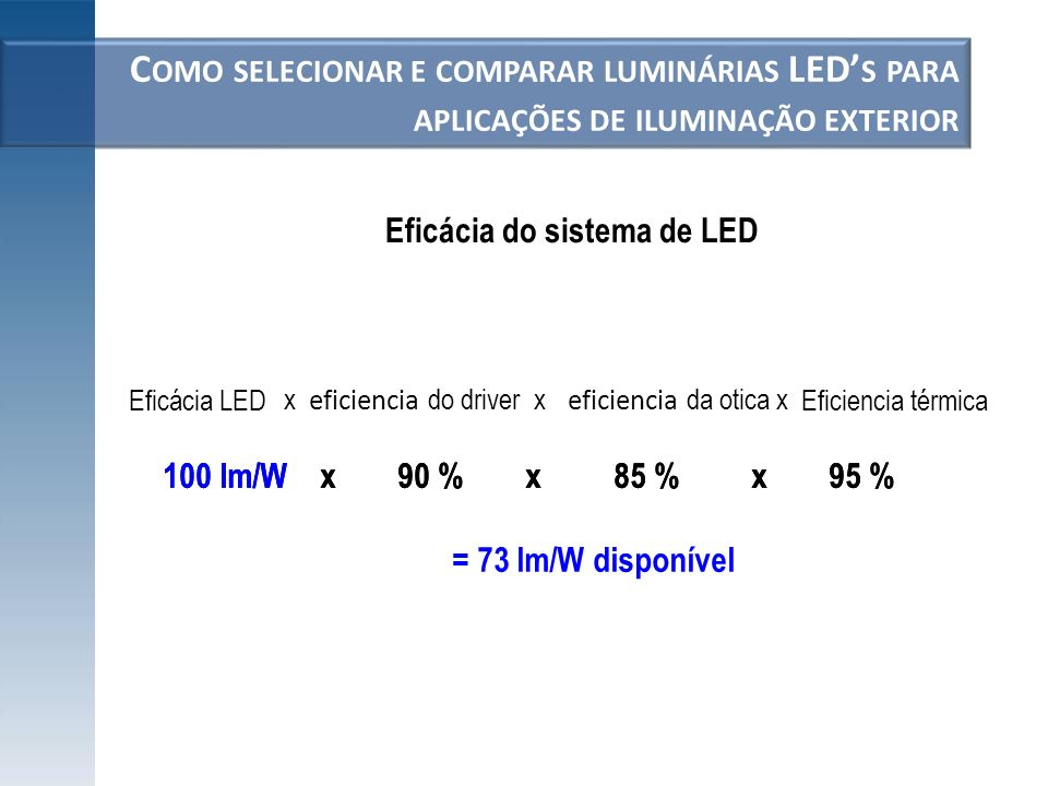 Eficácia do sistema de LED
