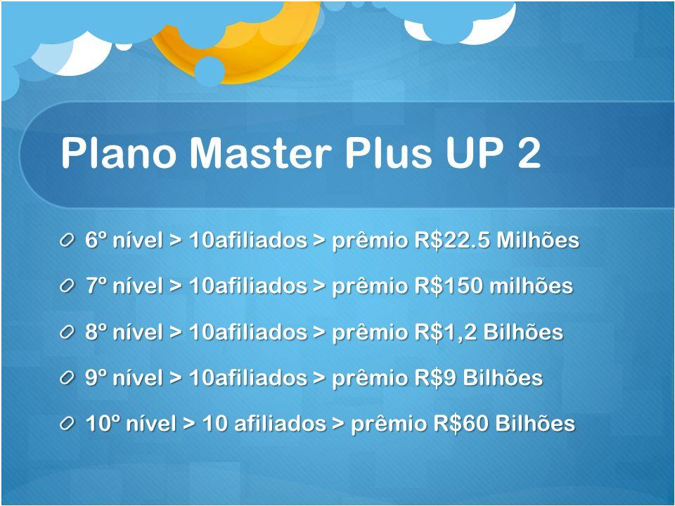 Plano Master Plus UP 2 6º nível > 10afiliados > prêmio R$22.5 Milhões. 7º nível > 10afiliados > prêmio R$150 milhões.