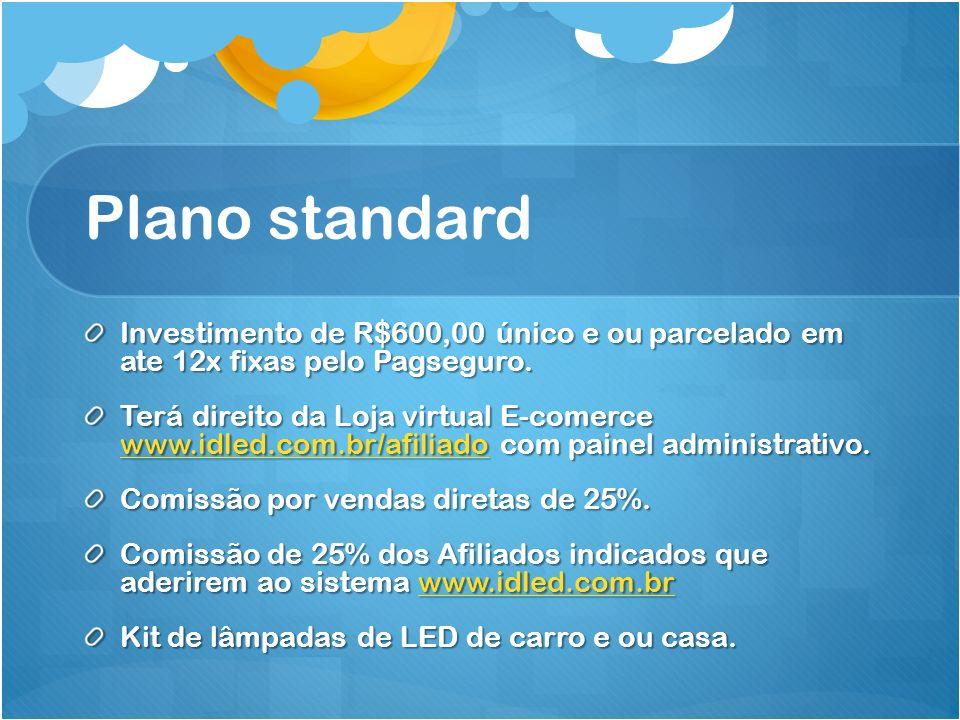 Plano standard Investimento de R$600,00 único e ou parcelado em ate 12x fixas pelo Pagseguro.
