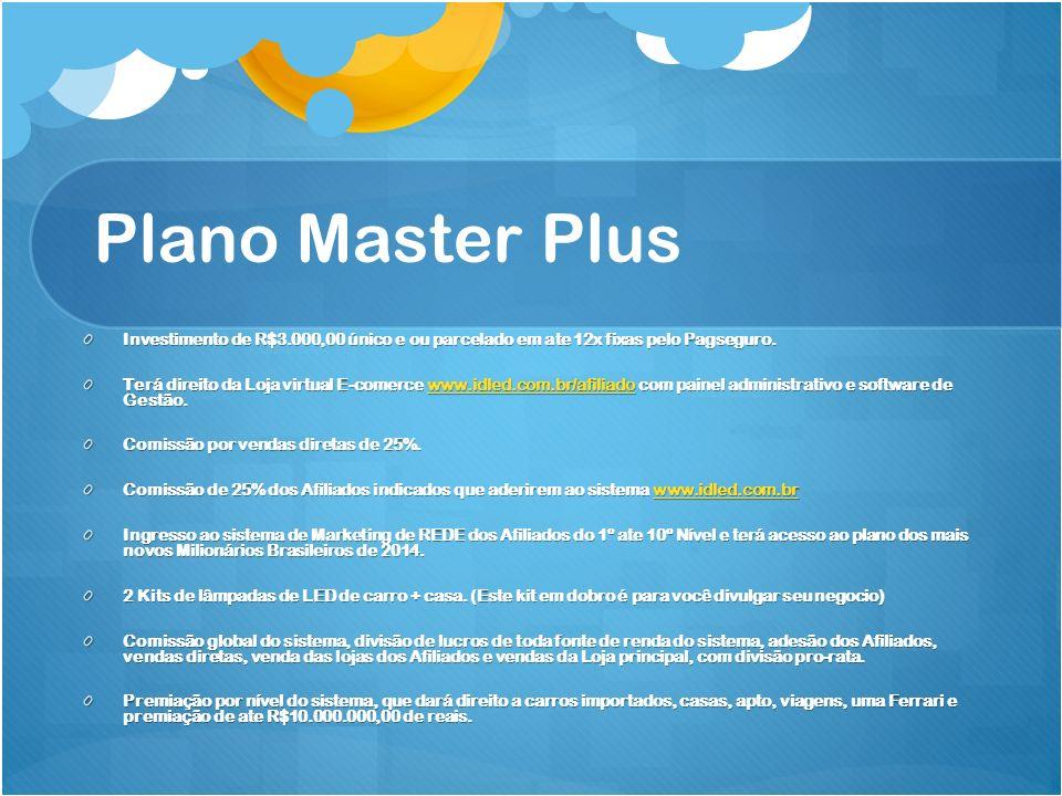 Plano Master Plus Investimento de R$3.000,00 único e ou parcelado em ate 12x fixas pelo Pagseguro.