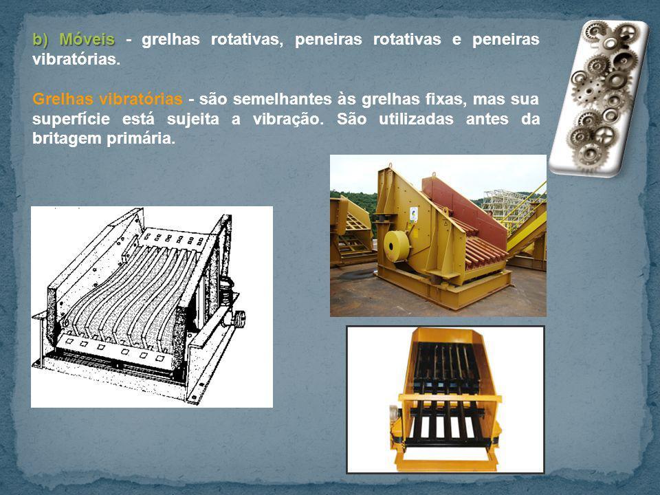 b) Móveis - grelhas rotativas, peneiras rotativas e peneiras vibratórias.