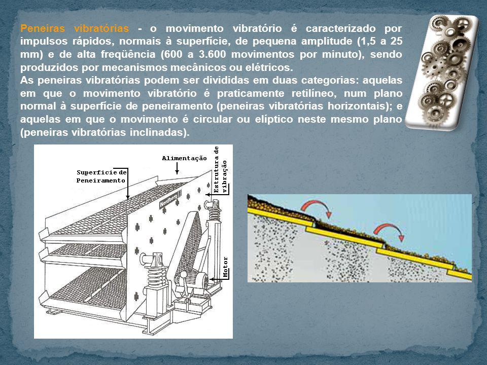 Peneiras vibratórias - o movimento vibratório é caracterizado por impulsos rápidos, normais à superfície, de pequena amplitude (1,5 a 25 mm) e de alta freqüência (600 a 3.600 movimentos por minuto), sendo produzidos por mecanismos mecânicos ou elétricos.