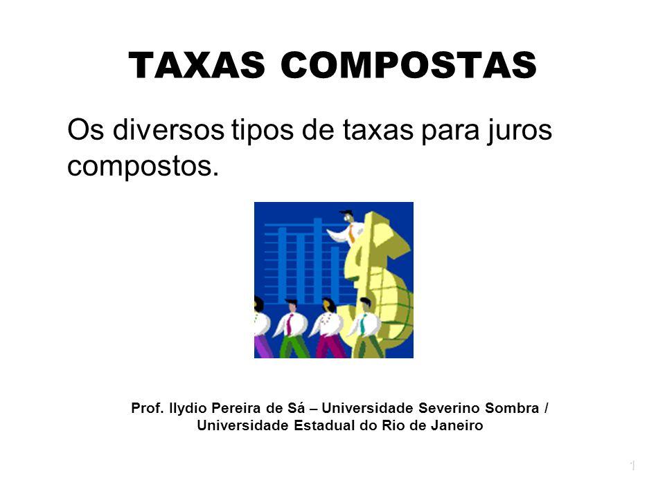 Os diversos tipos de taxas para juros compostos.