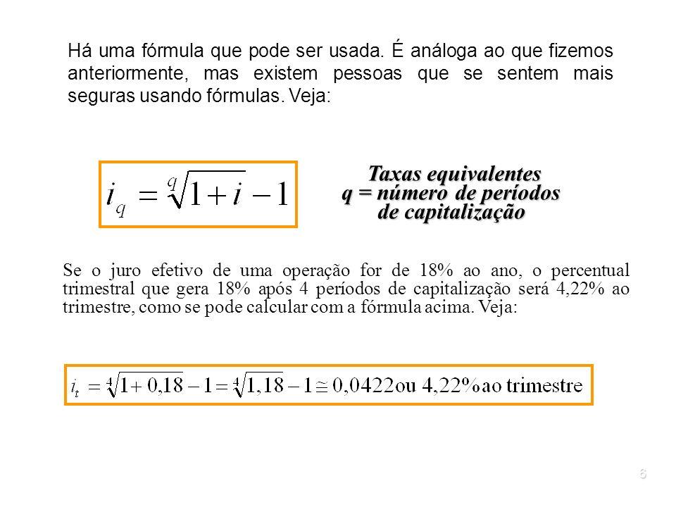 Taxas equivalentes q = número de períodos de capitalização
