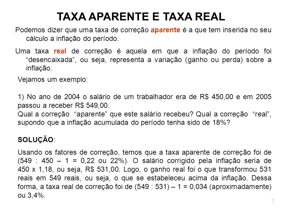 TAXA APARENTE E TAXA REAL