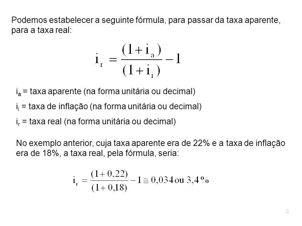 Podemos estabelecer a seguinte fórmula, para passar da taxa aparente, para a taxa real: