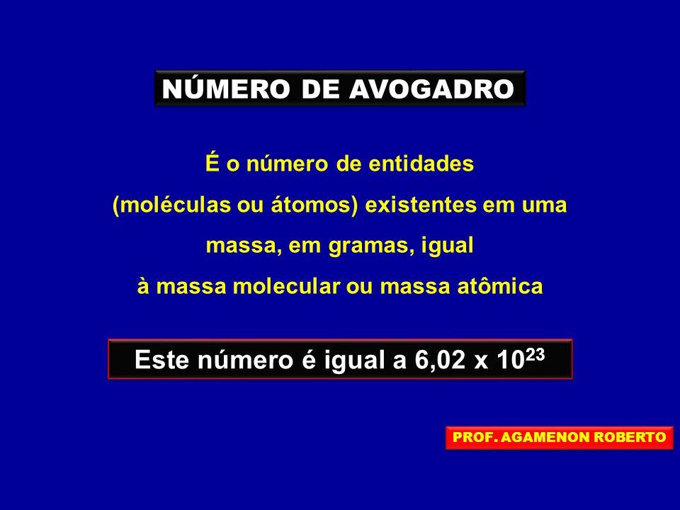 NÚMERO DE AVOGADRO Este número é igual a 6,02 x 1023